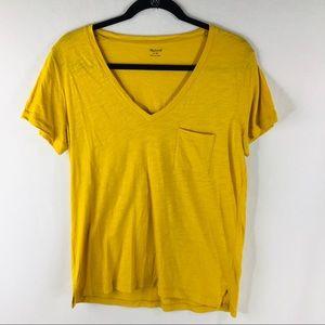 Madewell Medium Yellow Whisper Cotton V- Neck Tee